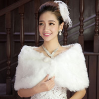 Women Faux Fur Cape Wedding Bridal Wrap Jacket Shawls Stole Bolero Shrug Coats?size:one size Color?white) = 1932629380