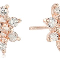 Rose Gold-plated Silver Morganite And White Zircon Stud Earrings
