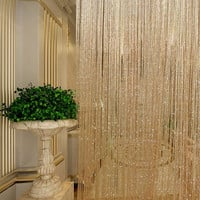 Tassel Glitter Curtains String Champagne for Living Room Window Door Shower Curtain Divider Panels Screen Drape Decoration