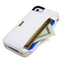 CM4 Q4-WHITE Q Card Case Wallet for Apple iPhone 4/4S - 1 Pack - Retail Packaging - Pearl White