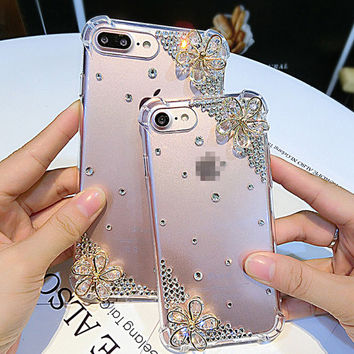 Crystal Flower Phone Case For iPhone 7 iphone 7 plus for iphone6 6s plus, for galaxy S6 S7, Handmade diy Bling Crystal Soft Phone Case