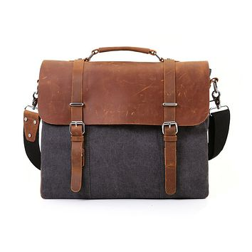 "ECOSUSI Vintage Canvas Leather 15.6"" Laptop Messenger Bag Men Satchel"