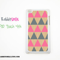 Tricangle Pink on Wood Pattern Geometric iPod touch 4th / 5th Generation Case, Cover / iPod touch 4g / 5g Case / iPod 4 / 5 cover