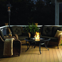Black Glass Coffee Table Gas Fire Pit