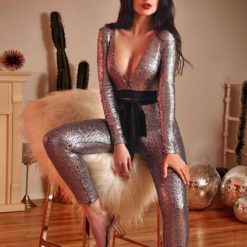 Wynn Stretch Mesh and Sequin Deep V Long Sleeve Jumpsuit