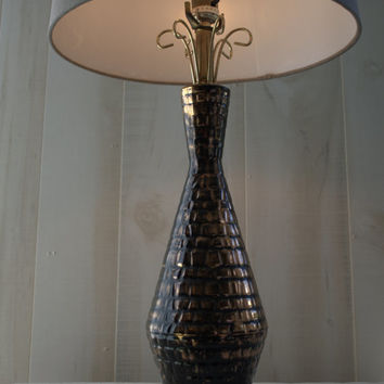 Metallic Mid Century Atomic Black and Gold Lusterware Table Lamp