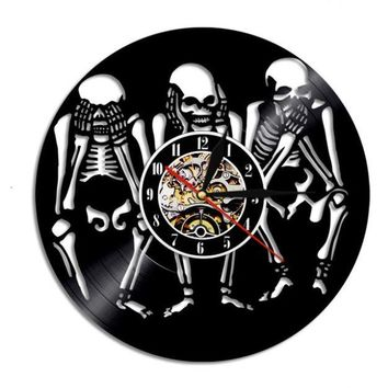 Three Skull Decorative Vinyl Record Wall Clock