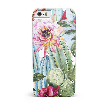 Vintage Watercolor Cactus Bloom iPhone 5/5S/SE INK-Fuzed Case