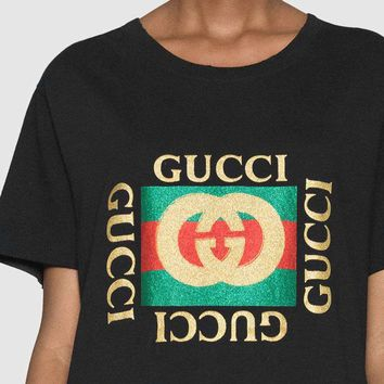 GUCCI Sequin Logo Shining Women Men Tee Shirt B-KWKWM Black