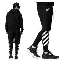 off white stripe printed  mens hiphop leggin