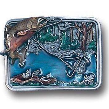 Sports Accessories - Fishing in River Enameled Belt Buckle