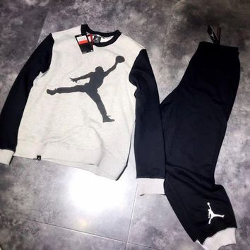 ONETOW Nike Air Jordan Woman Men Fashion Top Sweater Pullover Pants Trousers Set Two-Piece