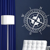Compass Wall Decal Compass Rose Nautical Vinyl Sticker Navigation Home Interior Design Art Wall Murals Bedroom Decor NS886