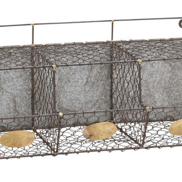 Hand Crafted Country Inspired Metal Wire Wall Rack With Three Sections