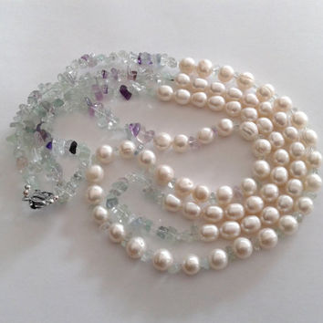 necklace  made of two rows of white freshwater pearls and fluorite chips, multistrand freshwater pearls necklace, handmade in Italy necklace