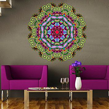 Wall Decals Mandala Colorful Ornament Full Color Indian Geometric Moroccan Pattern Namaste Flower Om Yoga Wall Vinyl Decal Stickers Bedroom Murals