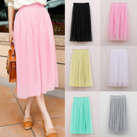 2017 New Spring Skirt Women Ruffle Midi Tulle Skirts Pleated Extender Beach Skirt Solid Saias Girl Fancy faldas Femme Free Size
