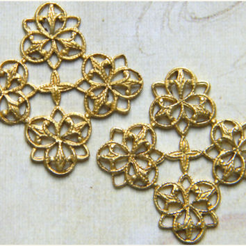 Raw Brass Filigree Vintage Style Ornate Square Stamping Wrap Pendant 24mm - 6 pcs