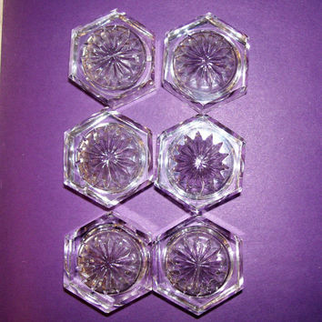 Crystal Salt Cellars, Salt Dishes, Vintage Salt Cellars, Starburst Pattern Salt Cellers, Set of 6 Salt Dishes