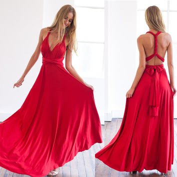 Red bandage long dress sexy Multiway Bridesmaids Convertible Dress robe longue femme
