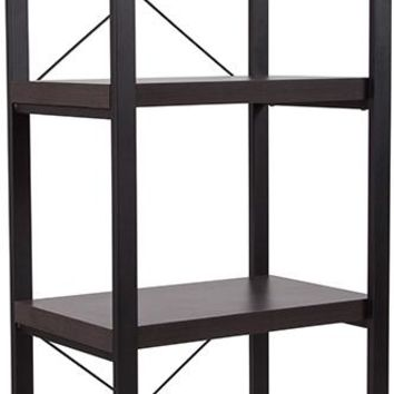 """Thompson Collection 4 Shelf 62""""H Etagere Bookcase in Charcoal Wood Grain Finish [NAN-JH-1734-GG]"""