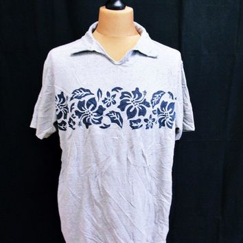 Retro Ralph Lauren Floral Hawaiian Polo T-Shirt Large