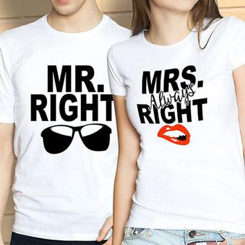 Mr Mrs Always Right T-Shirts - Unisex Short Sleeve Novelty Crew Neck Couple Shirts