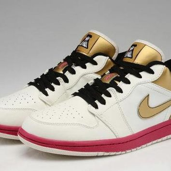 DCCKY4E Nike Air Jordan Retro Low Fuchsia & Gold Soldier Limited Edition Men Basketball Shoes