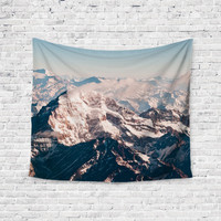 Winter Mountains Snow Peaks Trendy Boho Wall Art Home Decor Unique Dorm Room Wall Tapestry Artwork