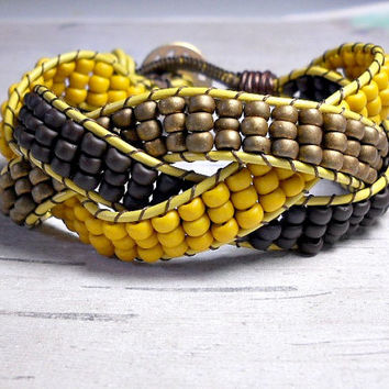 Brown Yellow Braid Leather Bracelet, Leather Bead Bracelet, Women's Bracelet