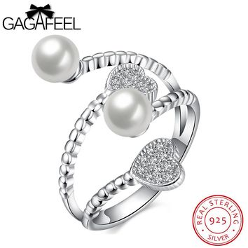 GAGAFEEL Love Heart Ring Sterling Silver Jewelry For Women Finger Accessorise Opening Design Simulated Shell Sparking Zircon