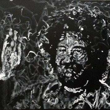 Original Painting Black and White - Jerry Garcia Waving - Grateful Dead - Original Handpainted Acrylic Painting on Canvas - Home Decor