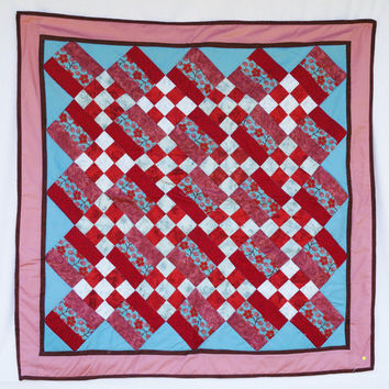 Homemade - Lap - Cherry - Red and blue - Mothers day - Grandma - Blanket - Bedding - Gift - Nine patch -  Present