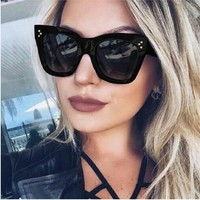 Newest 2017 Fashion Square Sunglasses Women Cat Eye Luxury Brand
