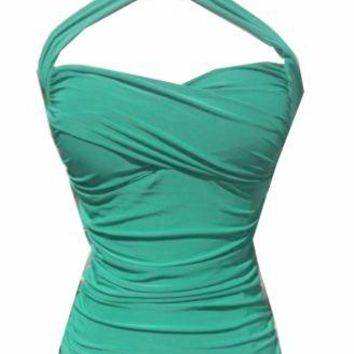 Mint Green CrissCross sweetheart Halter top Ruched Retro pinup