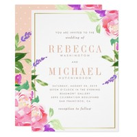 Watercolor Wedding | Spring Lavender, Rose & Gold Card