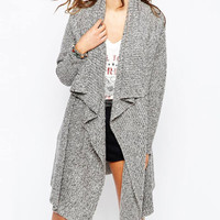 Gray Big Lapel Knitted Long Cardigan