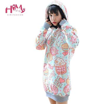 Winter Fashion Harajuku Macarons Cotton Women Hooded Hoodies Autumn Soft Sister Print Cartoon Unicorn Cute Female Sweatshirts