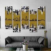 "Customizable! Original skyline painting. 41x64"" 5 piece canvas art. London skyline. Gold painting. Modern wall art. London art."