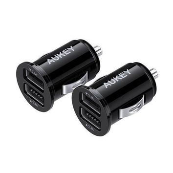 Aukey Car Charger Ultra Compact Dual Port 4.8a Output (2 Pack) For Iphone Ipad Samsung & Others Black