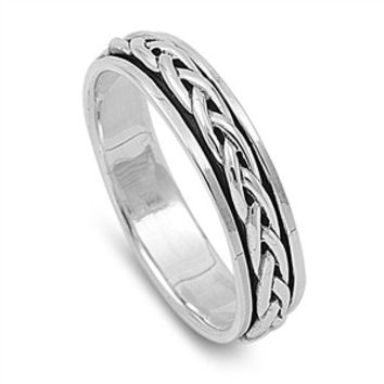 925 Sterling Silver Wicca Celtic Weave Spinner Ring 5MM