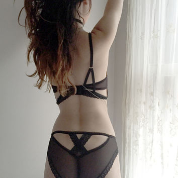 Claire Cross Back Luxe Panty in Infinite Black (Small & Medium) 🌟Ships Next Day🌟