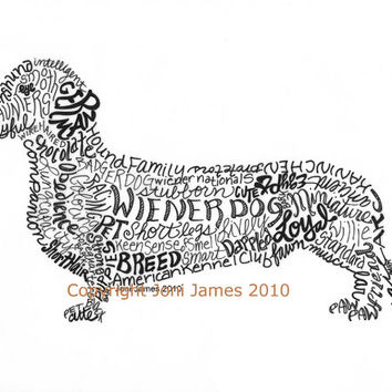Dachshund Art Print Wiener Dog Art Calligram Drawing, Wiener Dog Art Typography Illustration or Calligraphy Drawing Animal Calligram
