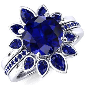 Flora Round Blue Sapphire 1/2 Eternity Accent Blue Sapphire Ring