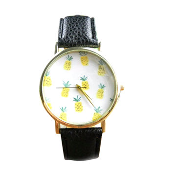 Pineapple Black Vegan Leather Watch