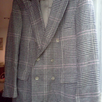 Vintage Womens Chaps Blazer by Ralph Lauren- for Saks Fifth Avenue- Hounds-tooth-plaid retron-fall winter fashion - epsteam,