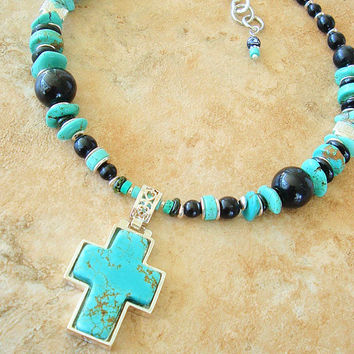 Southwest Cross Necklace, Junk Gypsy, Turquoise Cross Jewelry, Black and Turquoise Beaded Necklace