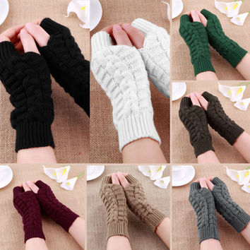 1 PC 2016 New Fashion Unisex Autumn Winter Hand Arm Gloves Crochet Knit Long Stretchy Warm Fingerless Gloves Women Men