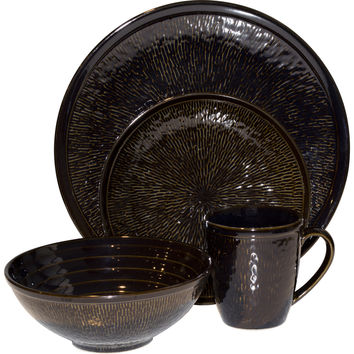 Spectrum Black 16-piece Set | Overstock.com Shopping - The Best Deals on Casual Dinnerware