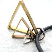 Geometric Necklace Mens Necklace Leather Triangle by pearlatplay